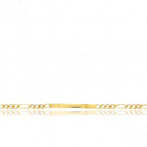 Pulsera Personalizable 19 cm de Oro Amarillo con Cadena Figaro 1x3