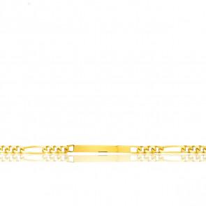 Pulsera Personalizable 20 cm de Oro Amarillo con Cadena Figaro 1x3