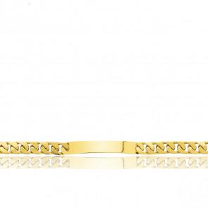 Pulsera Personalizable 21 cm de Oro Amarillo con Cadena Barbada