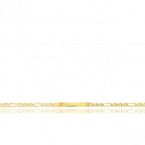 Pulsera Personalizable 21 cm de Oro Amarillo con Cadena Marina 1x3