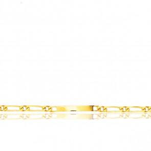 Pulsera Personalizable 23 cm de Oro Amarillo con Cadena Figaro 1x1