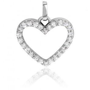 Colgante Corazón Oro Blanco y Diamantes