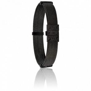Pulsera de Acero Negro Grabado 12 mm
