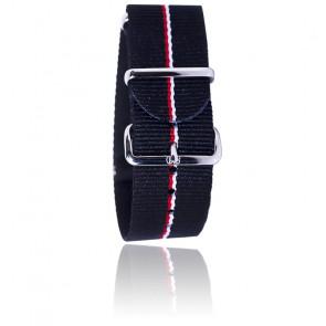 Correa negra con ribete rojo y blanco 20 mm