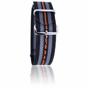 Correa negro/gris/negro/naranja 20 mm