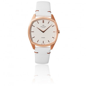 Reloj Octagon /Rose Gold /White /Cuero blanco K02008