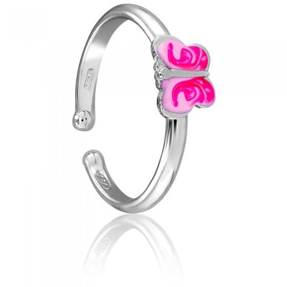 0d641ead5f56 Anillo para niña plata Mariposa rosa- Les Petites Lucioles - Ocarat