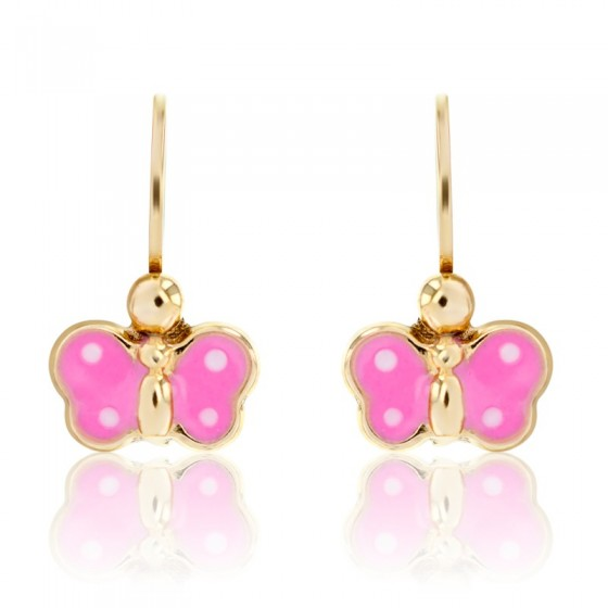 Pendientes de oro amarillo 9K Mariposa rosa