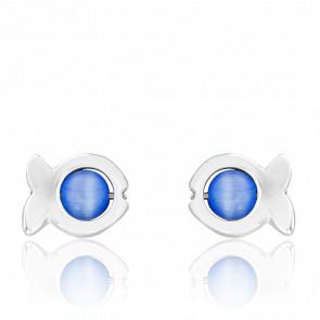 Pendiente Dorice Perlas de Vidrio Azul y Plata