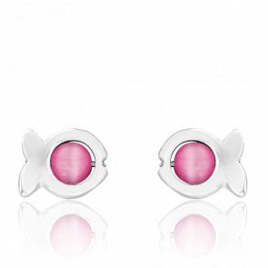 Pendientes Dorice Perlas de Vidrio Rosas y Plata