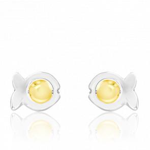 Pendientes Dorice Perlas de Vidrio Amarillo y Plata