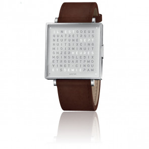 Reloj Qlocktwo W39 Fine Steel Leather Vintage Brown