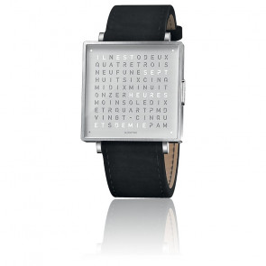 Reloj Qlocktwo W39 Fine Steel Leather Ante Negro