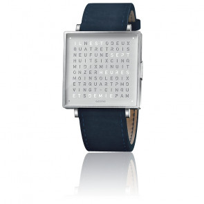 Reloj Qlocktwo W39 Fine Steel Leather Suede Dark Blue