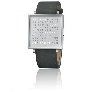 Reloj Qlocktwo W39 Fine Steel Leather Ante Gris