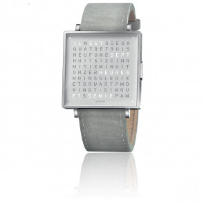 Reloj Qlocktwo W39 Fine Steel Leather Suede Light Grey