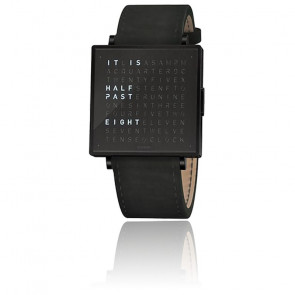 Reloj Qlocktwo W39 Black Steel Leather Suede Black