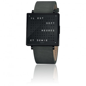 Reloj Qlocktwo W39 Black Steel Leather Suede Anthracite