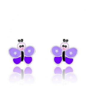 Pendientes de plata Mariposa Violeta