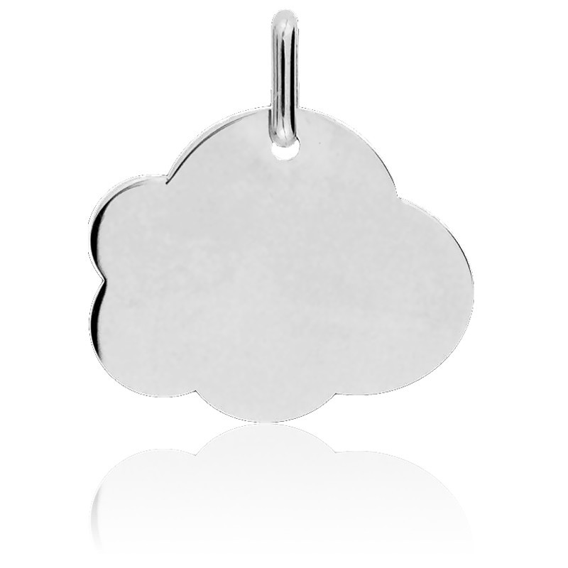 Medalla para Grabar Nube GM Oro Blanco 18K