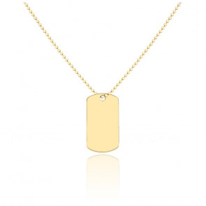 Collar placa Oro Amarillo 9K