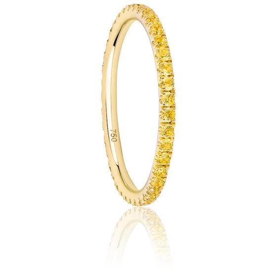 d173f34e19c2 Anillo de zafiros amarillos y oro de 18 quilates - Ocarat