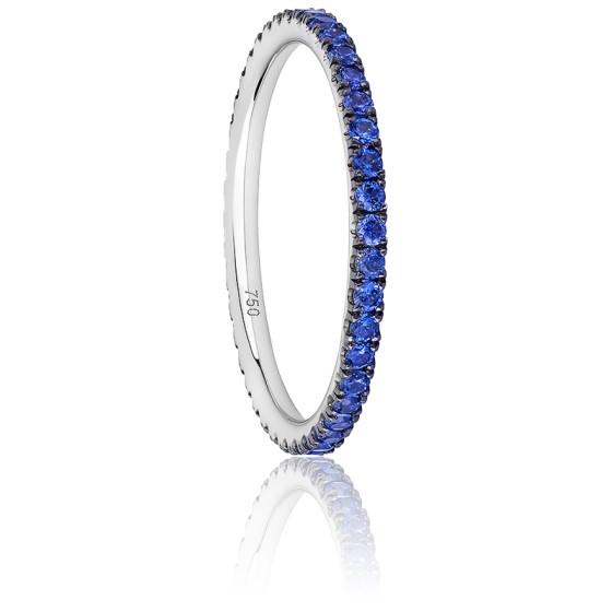 ef91c51262a3 Anillo zafiros azules y oro blanco de 18 quilates - Ocarat