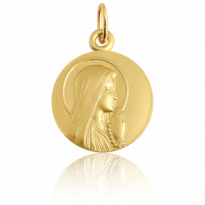 Medalla Ave María aureola Oro amarillo 18K