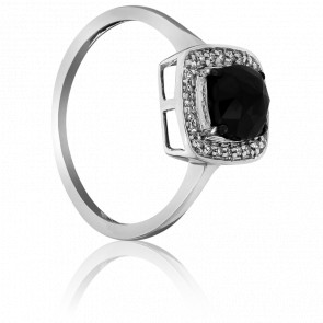 Anillo Black Cushion Diamante Negro
