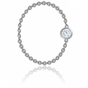 Anillo cadena con diamante de 0.09ct y oro blanco de 18K