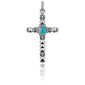 Colgante Cruz Étnica Pequeña Turquesa - PE774-878-17