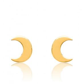 Pendientes de luna bañados en oro amarillo