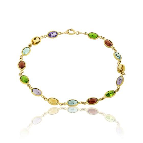 9dd0551e6e95 Pulsera Multicolor Oro Amarillo y Piedras - Ocarat