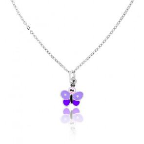 Collar de Plata Mariposa Violeta