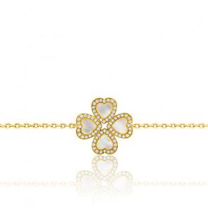 Pulsera Nácar Diamantes y Oro Amarillo Trébol