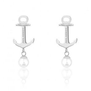 Boucles d'oreilles Anchor Pearl, acier inoxydable & perle blanche