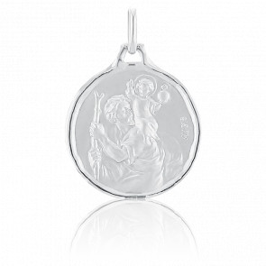 Medalla San Cristóbal Circular Oro Blanco 18K