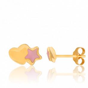 Pendientes Corazón Estrella Oro Amarillo
