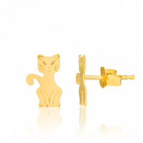 Pendientes Gatos Oro Amarillo