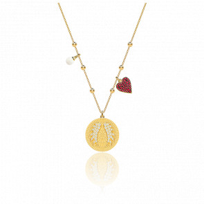 Collar Lucky Goddess Wings, Multicolor y Baño de Oro