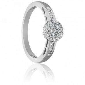 Anillo Botón de Oro Blanco y Diamantes