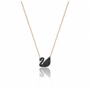 Colgante Iconic Swan Negro, Baño de oro rosa
