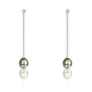 f4494bb6fb93 Emanessence Pendientes Gotas de Agua Perlas Tahití y Diamantes Blancos