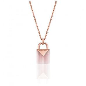 Collar Candado Quartz Rosa, Baño de Oro Rosa 14K