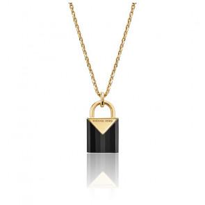 Collar Candado Onyx, Baño de Oro 14K