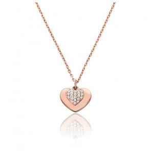Collar Love, Corazón Pavimentado, Baño de Oro Rosa 14K