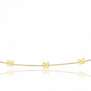 Collar Tres Mariposas Caladas Oro Amarillo