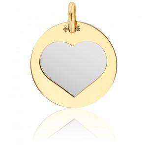 Colgante Oro Amarillo & Corazón Acero Gris