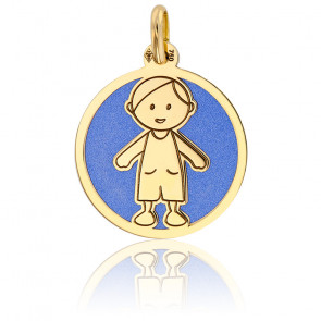 Colgante Niño Azul & Oro Amarillo 18K