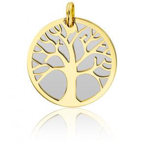 Colgante Árbol de la Vida de Oro Amarillo 9 quilates y acero gris